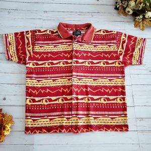 Vintage Bright Pattern Polo Shirt Button Up Size L